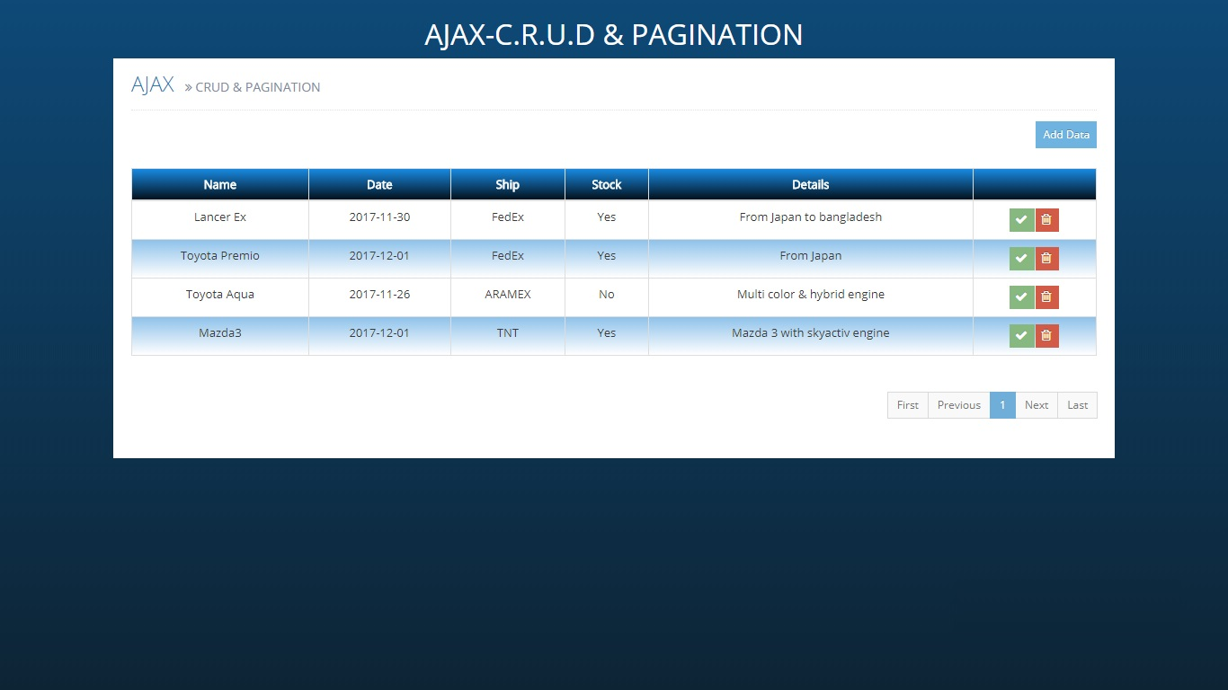 Ajax CRUD & Pagination