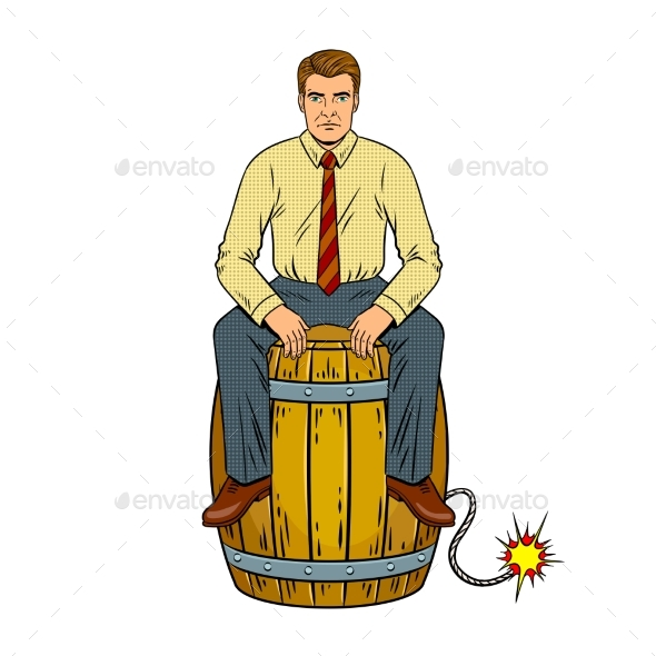 Man on Powder Keg Pop Art Vector Illustration - Miscellaneous Vectors