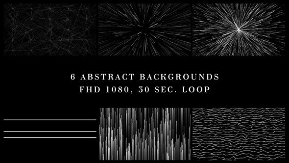VideoHive White Lines In Black Background 6 Pack 21207173