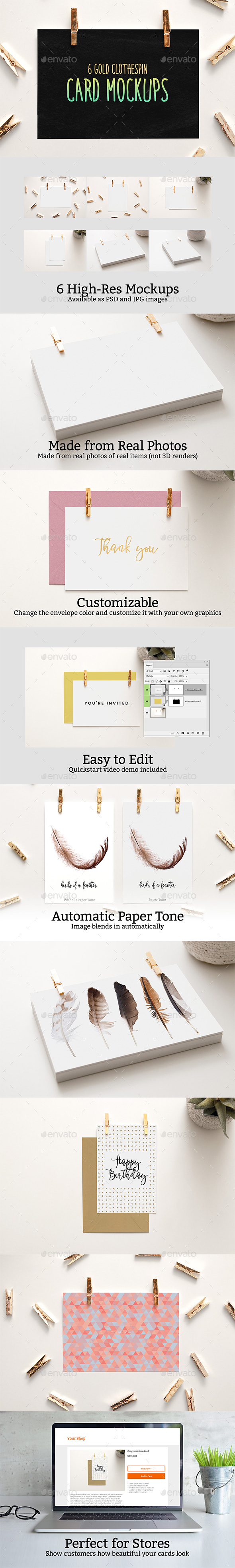 6 Gold Clothespin-Style Card Mockups - Print Product Mock-Ups