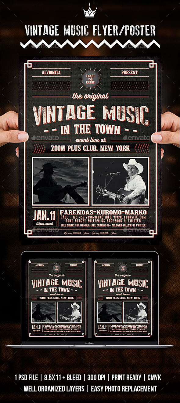 Vintage Music Flyer / Poster - Events Flyers