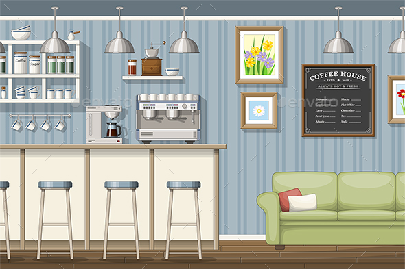Illustration of a Classic Coffee Shop - Miscellaneous Conceptual