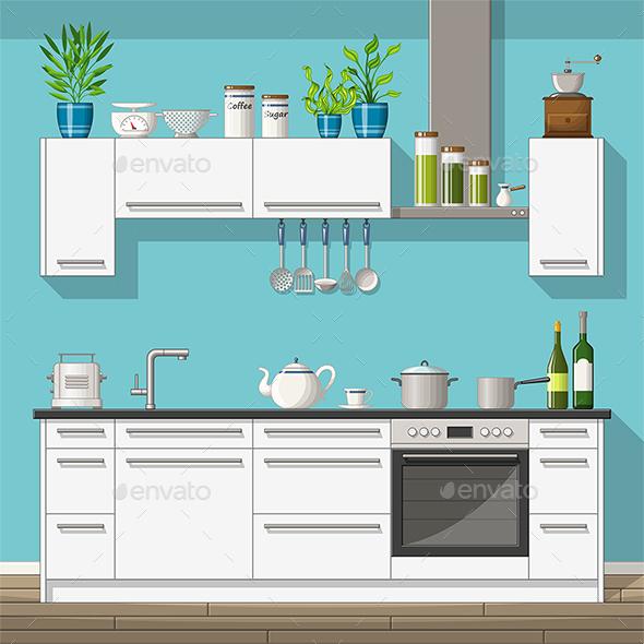 Illustration of a Modern Kitchen - Miscellaneous Vectors