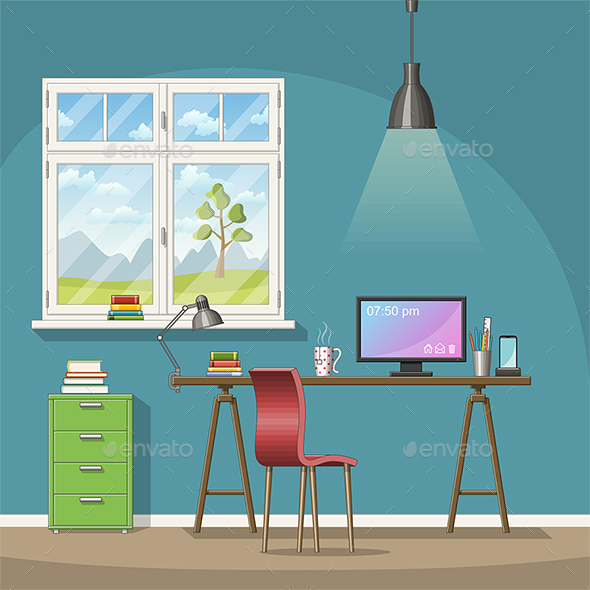 Illustration of a Modern Home Office - Miscellaneous Vectors
