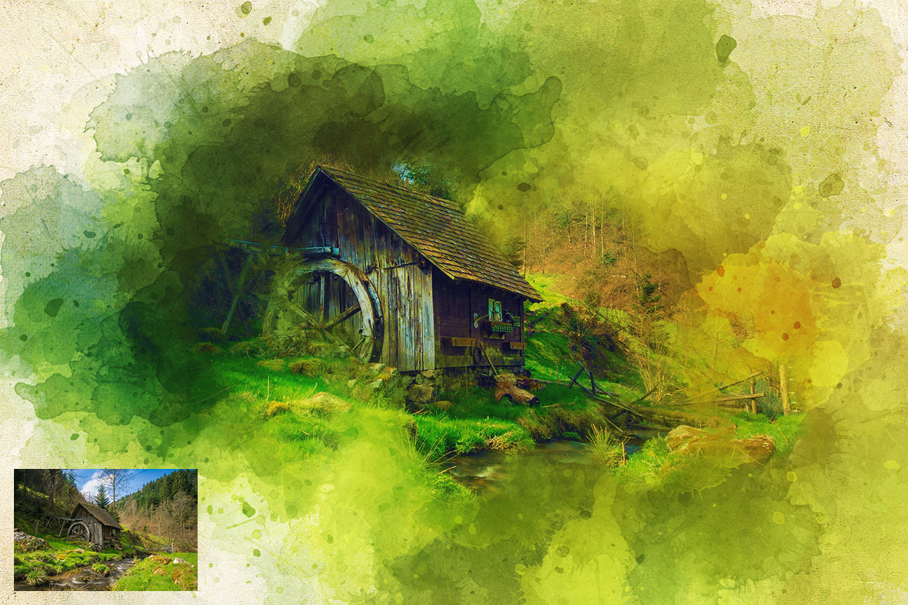 Watercolor Artist Photoshop Action by Artist-Painting | GraphicRiver