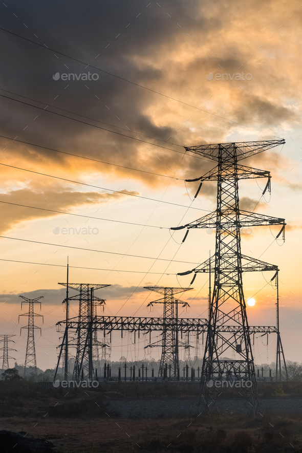 power tower at dusk - Stock Photo - Images