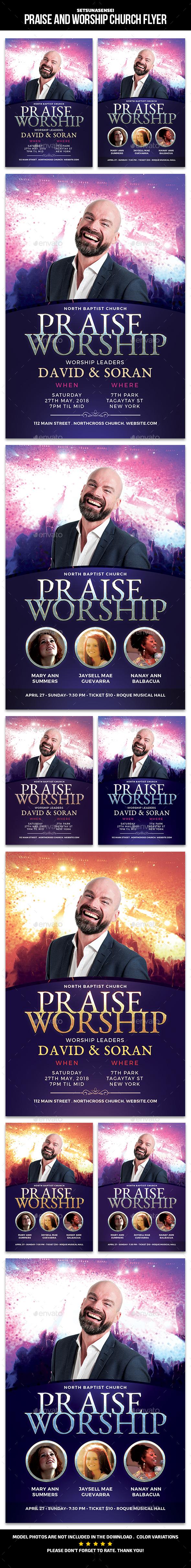 Praise Worship Church Flyer - Church Flyers