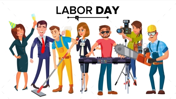 Labor Day Vector. Group Of People. Modern Jobs - Business Conceptual