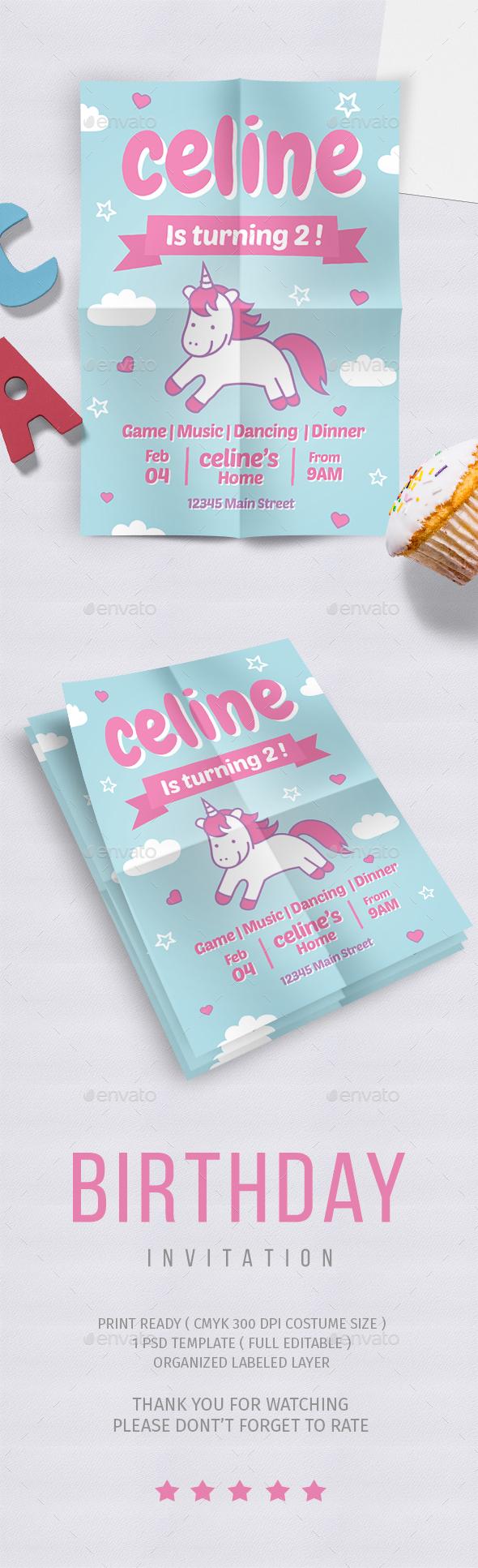 Birthday party Flyer vol. 6 - Cards & Invites Print Templates