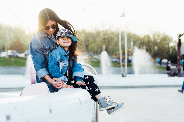 mom and daughter have fun together - Stock Photo - Images