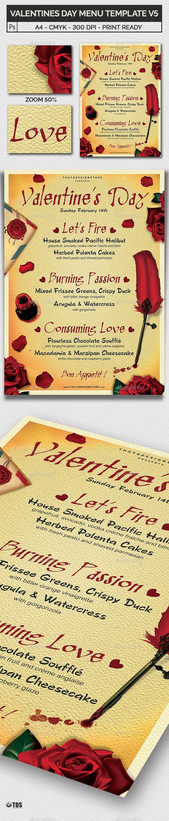 Valentines Day Menu Template V5 - Restaurant Flyers