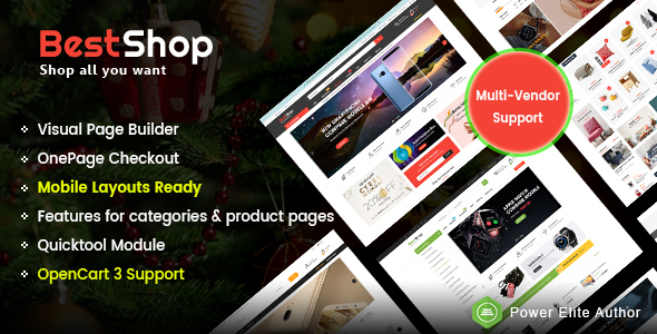 BestShop - Top MultiPurpose Marketplace OpenCart 3 Theme With Mobile Layouts - OpenCart eCommerce