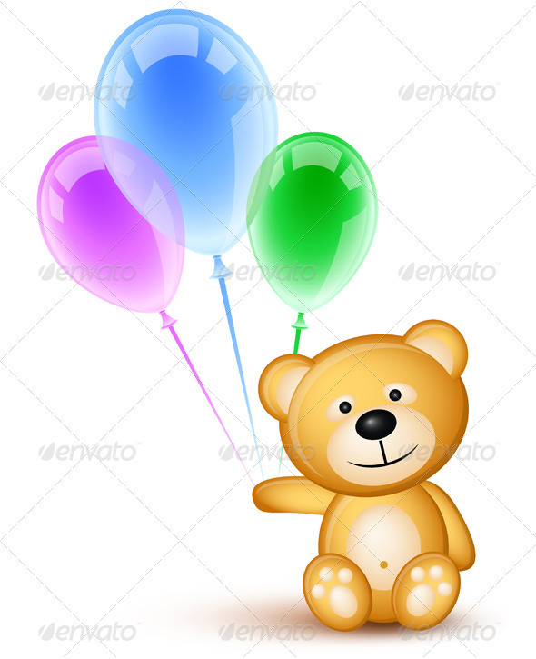 Teddybear and Balloons - Characters Vectors