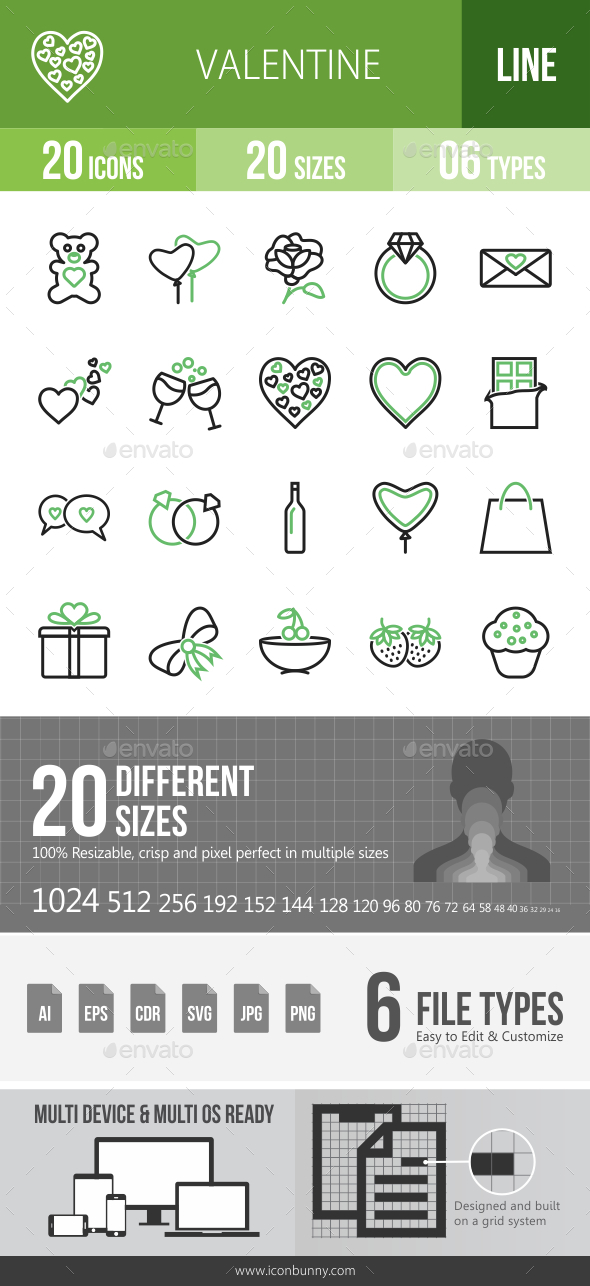20 Valentine Green & Black Line Icons - Icons