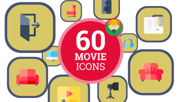 VideoHive Icons Pack Cinema Film Movie Entertainment Hollywood Flat Animated Icons 21207941