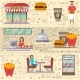 Street Fast Food Cafe Elements Set in Flat Style - GraphicRiver Item for Sale