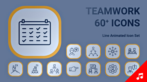 VideoHive Teamwork Business Leader Icon Set Line Animated Icons 21207989