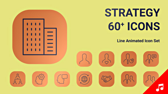 VideoHive SEO Business Strategy Icon Set line Animated Icons 21208001