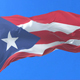 Flag of Puerto Rico Waving at Wind