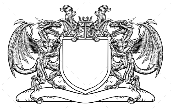Dragon Shield Heraldic Crest Coat of Arms Emblem - Miscellaneous Vectors