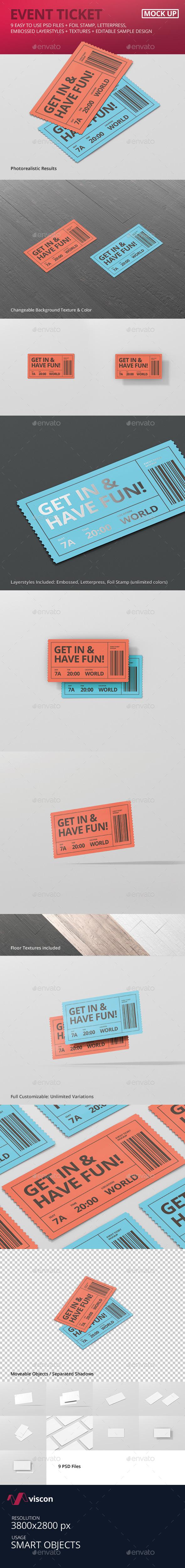 Event Ticket Mockup - Miscellaneous Print