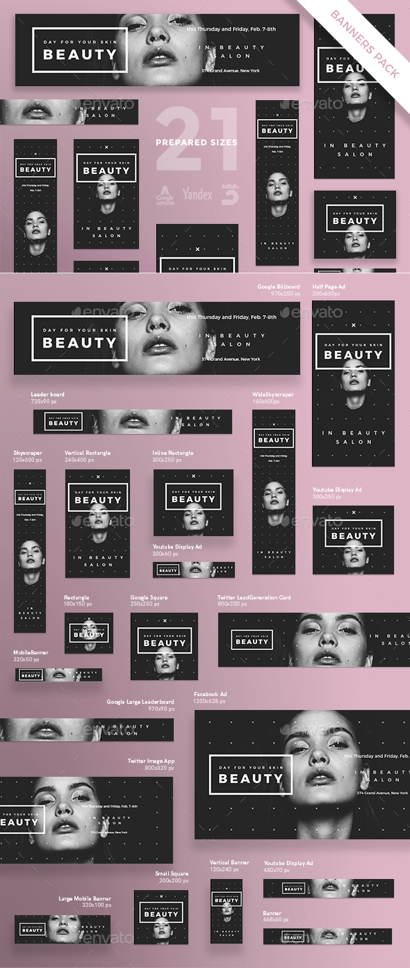 Skin Beauty Banner Pack - Banners & Ads Web Elements