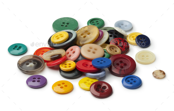 Heap of colorful sewing buttons - Stock Photo - Images