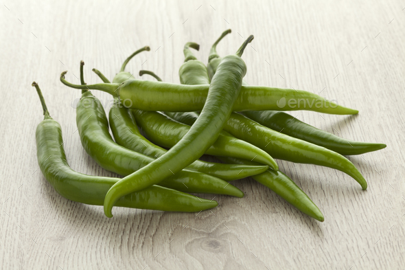 Heap of fresh green chili peppers - Stock Photo - Images