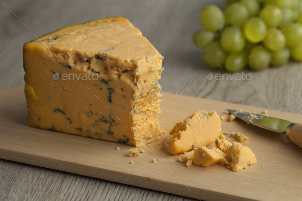 English Shropshire Blue cheese - Stock Photo - Images