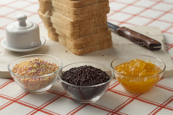 Assorted traditional dutch sweets for breakfast - Stock Photo - Images
