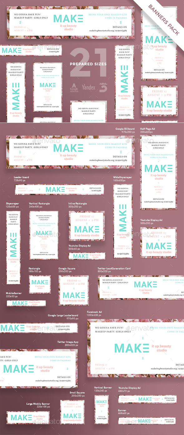 MakeUp Studio Banner Pack - Banners & Ads Web Elements