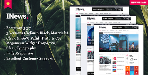 I-News - Bootstrap Responsive HTML News & Magazine Blog Template - Creative Site Templates