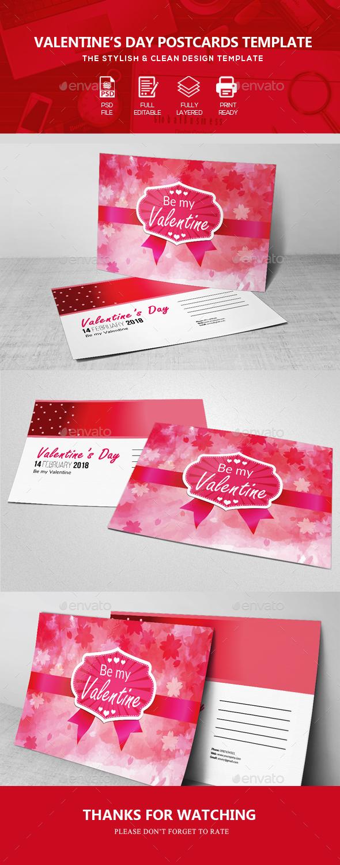 Valentine Post Card Templates - Cards & Invites Print Templates