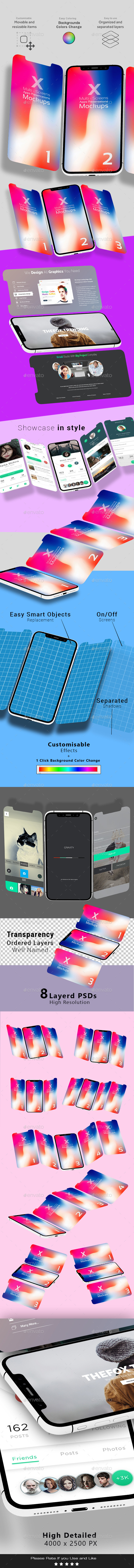 X Multi-Screens Apps Presentations Mock-ups - Mobile Displays