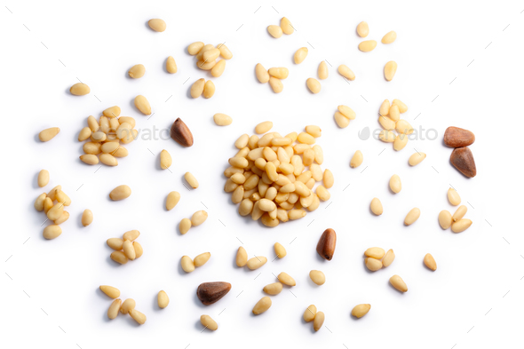 Pine nuts pignoli pinus seeds, top view, paths - Stock Photo - Images