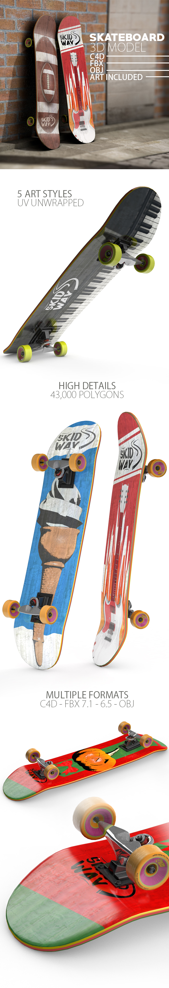 Skateboard Unwrapped 3D Model - 3DOcean Item for Sale