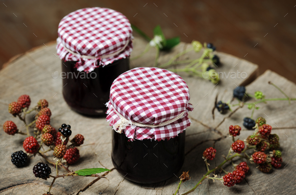 homemade blackberry jam - Stock Photo - Images