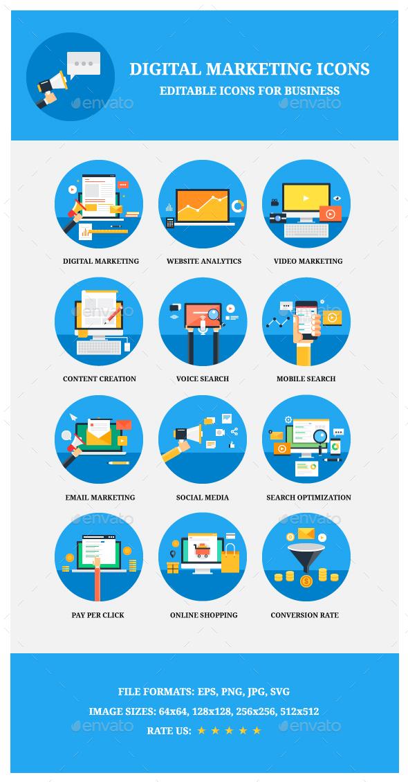 12 Flat Marketing for Web - Web Icons