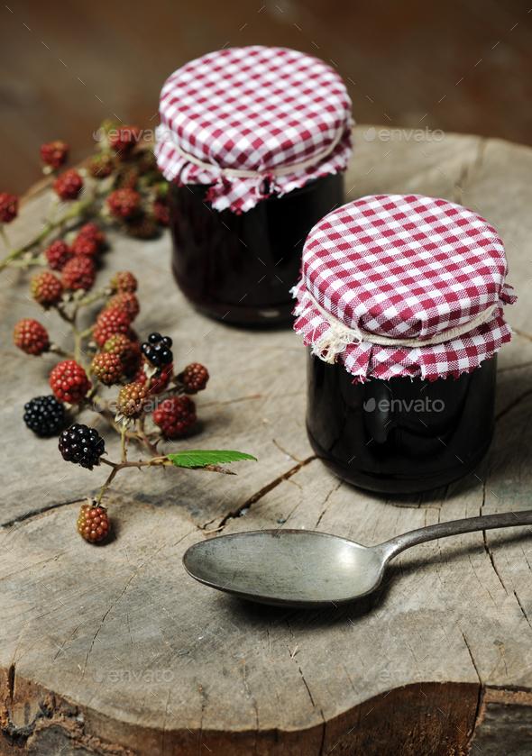 homemade blackberry jam - Stock Photo - Images