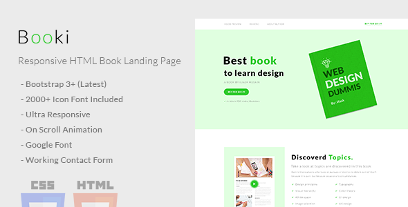 Booki - Responsive HTML Book Landing Page - Marketing Corporate