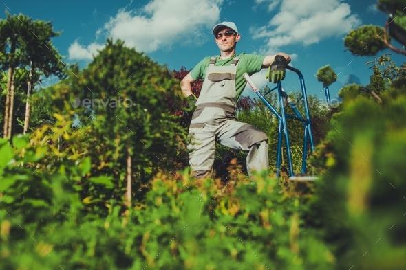 Happy Caucasian Gardener - Stock Photo - Images
