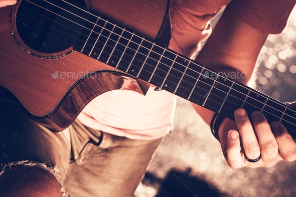 Musician with Acoustic Guitar - Stock Photo - Images