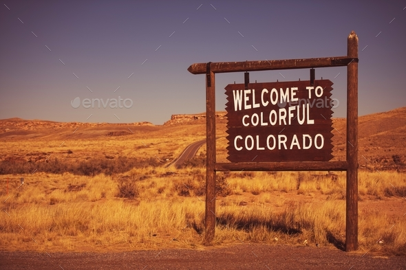 Colorado State Welcome Sign - Stock Photo - Images