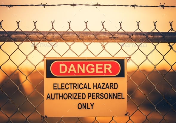 Electrical Hazard Warning Sign - Stock Photo - Images