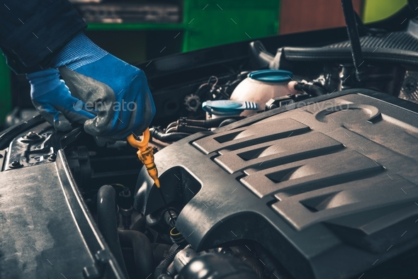 Maintaining Car Oil Check - Stock Photo - Images