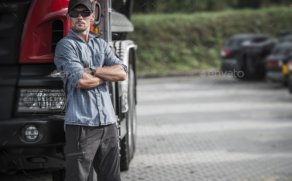 Trucker and His Semi Truck - Stock Photo - Images