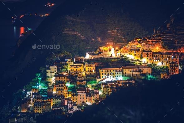 Riomaggiore Village at Night - Stock Photo - Images