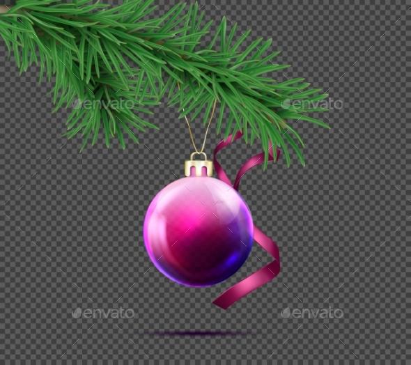 3D Realistic Vector Christmas Ball with Fir Branch - Christmas Seasons/Holidays