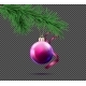 3D Realistic Vector Christmas Ball with Fir Branch