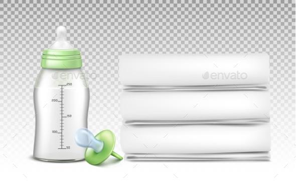Vector Set of Baby Care Accessories - Health/Medicine Conceptual